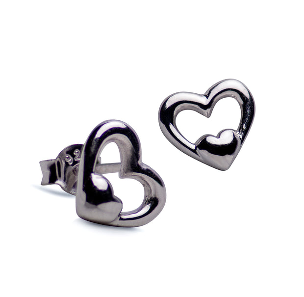 "Sterling Silver ""Heart in a Heart"" Rhodium Plated Earrings"