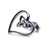 Sterling Silver Tri-Knot Love Heart Stud Earrings