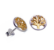 Cubic Zirconia Tree of Life Gold & Silver Earrings | SilverAndGold