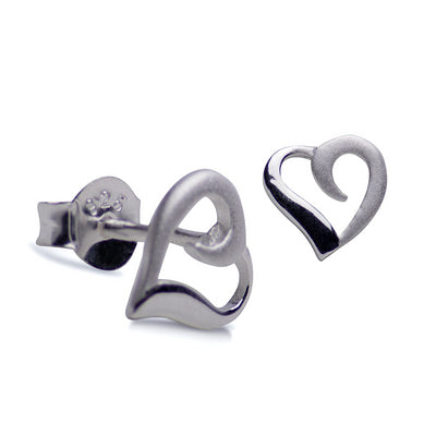 Sterling Silver Two Tone Heart Earrings | SilverAndGold