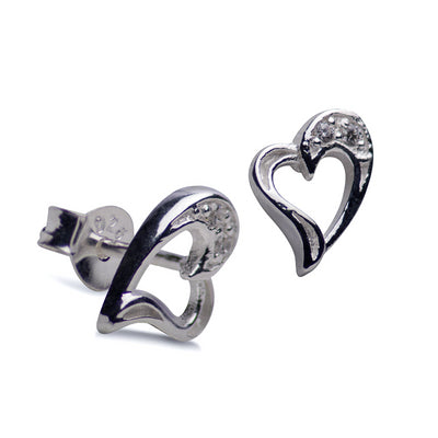 Sterling Silver Heart Earrings with Cubic Zirconia Accents