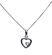 14K Rose Gold Plated Sterling Silver Dual Mother Child Heart Necklace