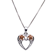 14K Rose Gold Plated Sterling Silver Heart Pendant Featuring Plumeria