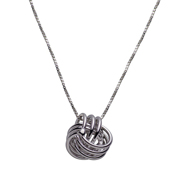 Sterling Silver Rhodium Plated Love Knot Pendant Necklace