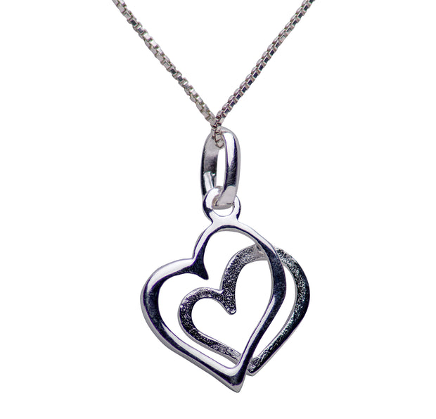 Sterling Silver & Pavé Crystal Dual Hearts Necklace 16 Inch Chain