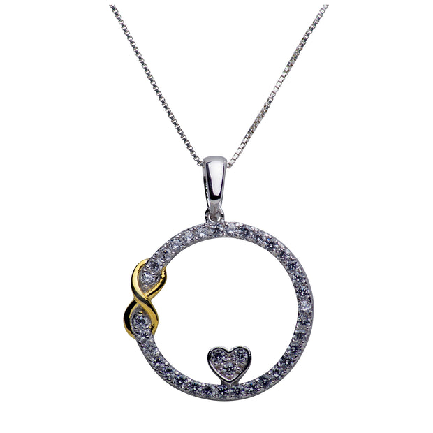 Infinite Love Pendant Necklace in Rhodium and 14K Gold Over Sterling Silver