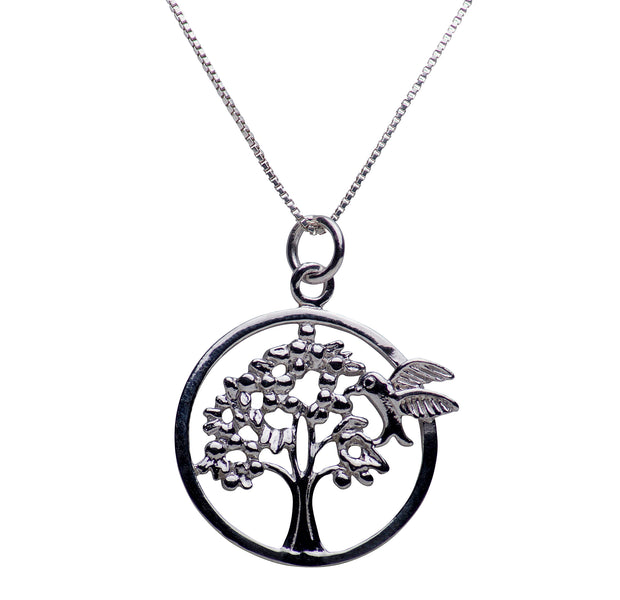 Hummingbird & Tree of Life Rhodium Plated Sterling Silver Necklace