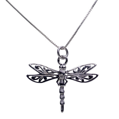 Delicate Dragonfly Rhodium Plated Sterling Silver Pendant Necklace