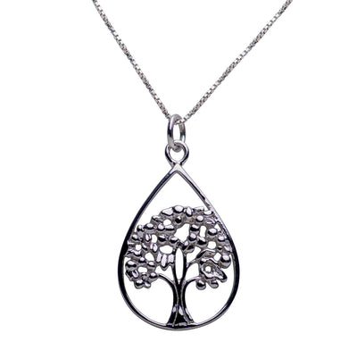 Teardrop Shape Tree of Life Rhodium Plated Sterling Silver Necklace