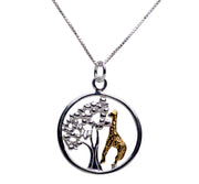 Giraffe Tree of Life 14K Gold Plated Sterling Silver Pendant Necklace