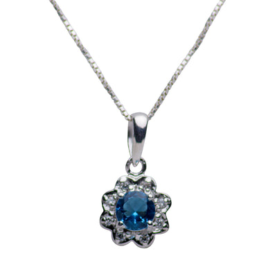 Synthetic Topaz & Clear Cubic Zirconia Flower Pendant Necklace