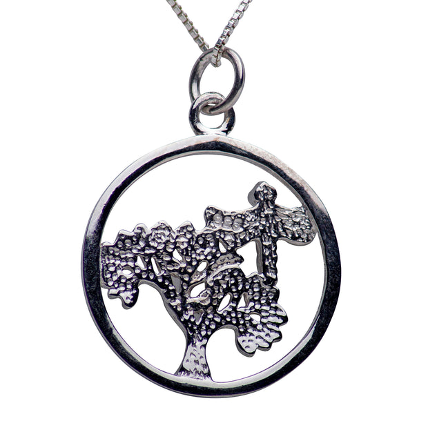 Dragonfly & Tree of Life Rhodium Plated Sterling Silver Necklace