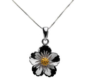 Floral Rhodium Plated 18K Yellow Gold Plated Sterling Silver Necklace