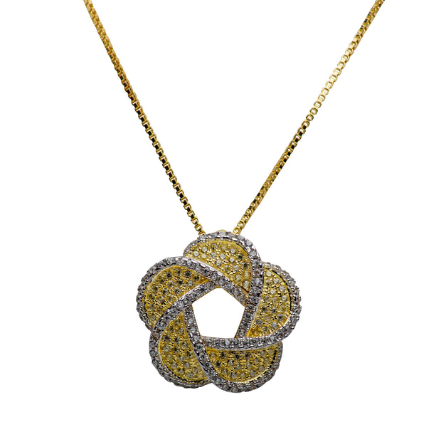 Floral Cubic Zirconia 14K Yellow Gold Plated Sterling Silver Necklace