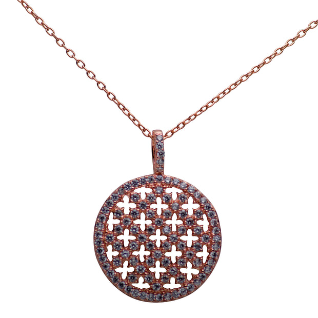 14K Rose Gold Plated Sterling Silver Crisscross Pendant Necklace