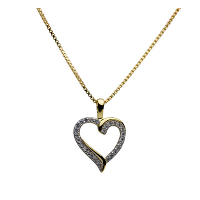 14K Gold Plated Sterling Silver & Cubic Zirconia Heart Necklace