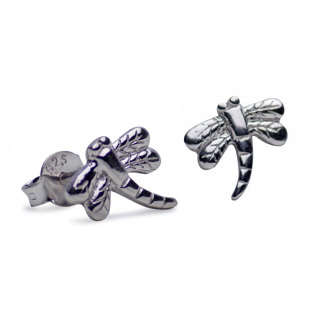 Dragonfly Rhodium Plated Sterling Silver Stud Earrings
