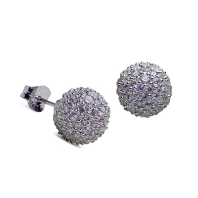 Cubic Zirconia  Ball Stud Sterling Silver Earrings | SilverAndGold