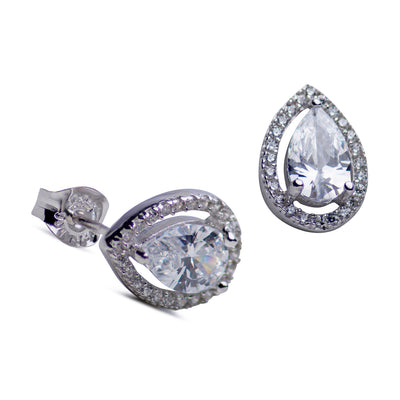 Halo Style Pear Shape Cubic Zirconia Stud Earrings