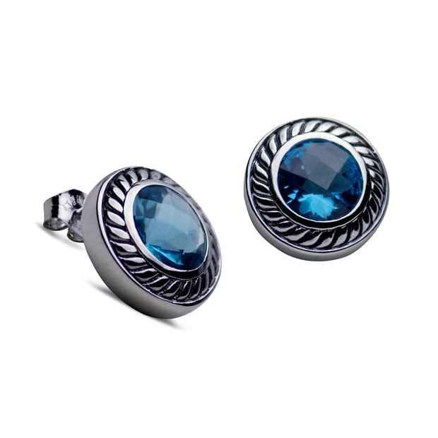 Sparkling Synthetic Blue Topaz Sterling Silver Classic Earrings