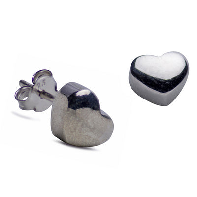 Simple Sterling Silver Heart Stud Earrings