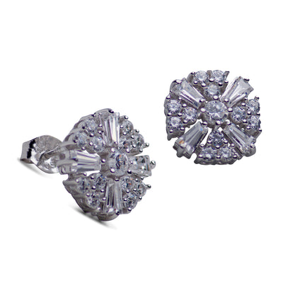 Cubic Zirconia Sunburst Sterling Silver Earrings | SilverAndGold