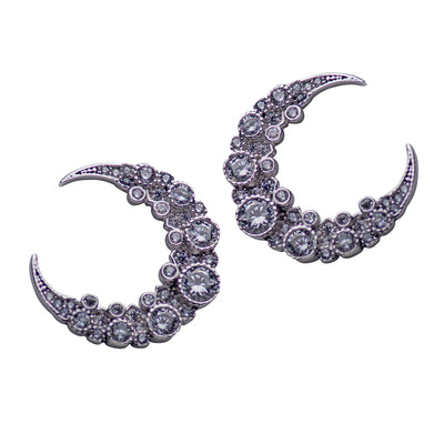 Crescent Moon Cubic Zirconia & Rhodium Plated Sterling Silver Earrings