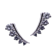 Graduated Cubic Zirconia Climber Rhodium Plated Sterling Silver Earrings