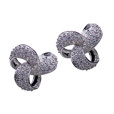 Cubic Zirconia Trinity Knot Sterling Silver Earrings | SilverAndGold