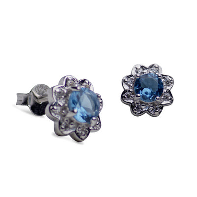 Synthetic Topaz & Clear Cubic Zirconia Flower Stud Earrings