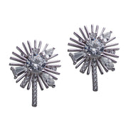 Daisy Flower Cubic Zirconia Rhodium Plated Sterling Silver Large Earrings