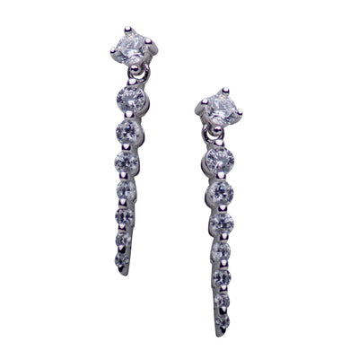 Cubic Zirconia Graduated Bar Drop Plated Sterling Silver Drop Earrings