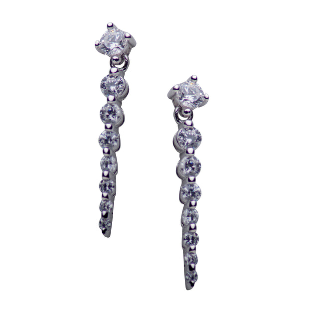 Cubic Zirconia Drop Sterling Silver Earrings | SilverAndGold