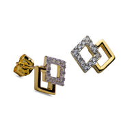 Double Diamond 14K Yellow Gold Plated Sterling Silver Earrings