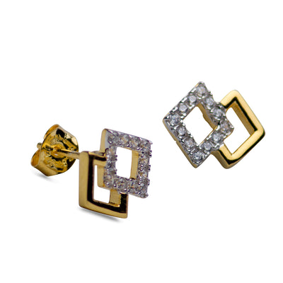 Diamond 14K Yellow Gold Plated Earrings | SilverAndGold