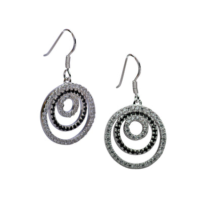 Clear & Black Cubic Zirconia Circles Earrings | SilverAndGold
