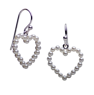 Cultured Pearl Heart Dangle Earrings
