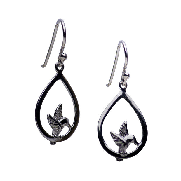 Hummingbird Rhodium Plated Sterling Silver Dangle Earrings