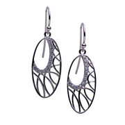 Intricate Oval Dangle Rhodium Plated Silver Cubic Zirconia Earrings