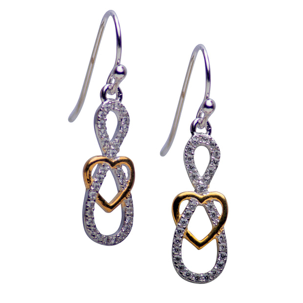 14K Gold Infinity & Heart Sterling Silver Earrings | SilverAndGold
