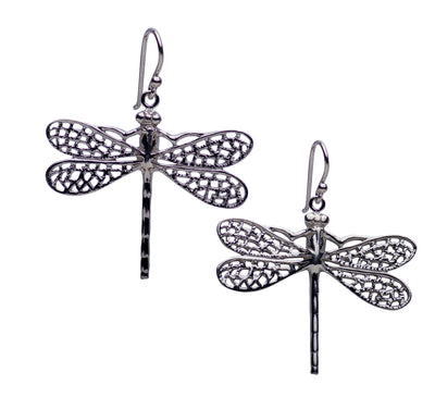Large Dragonfly Rhodium Plated Sterling Silver Dangle Earrings