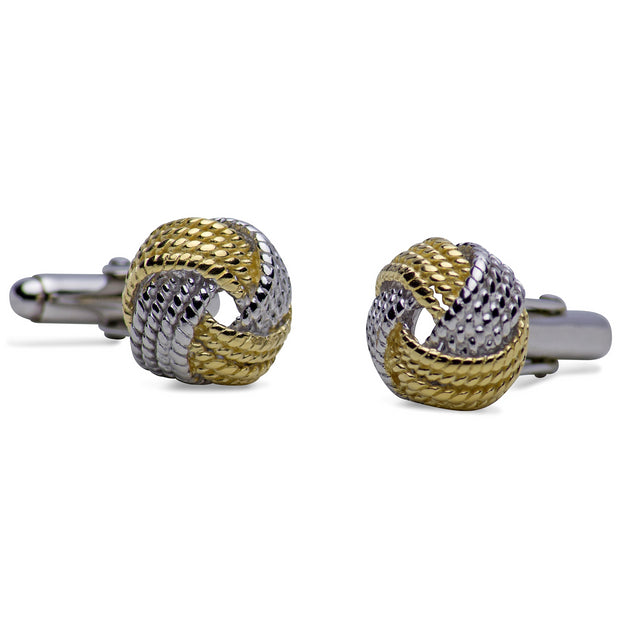 14K Yellow Gold & Rhodium Plated Sterling Silver Love Knot Cufflinks