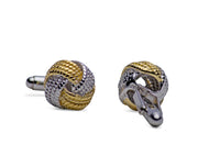 14K Yellow Gold & Sterling Silver Love Knot Cufflinks | SilverAndGold