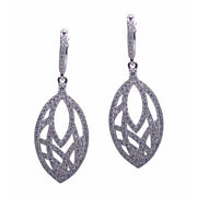 Fashion Cut Crystal Zirconia Teardrop Rhodium Plated Sterling Silver Earrings