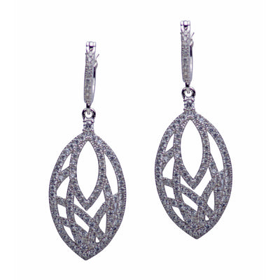 Cubic Zirconia Teardrop Rhodium Plated Sterling Silver Earrings