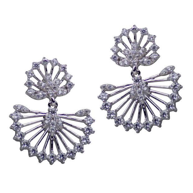 Delicate Fan Style Sterling Silver & Cubic Zirconia Dangle Earrings