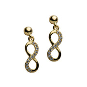 14K Yellow Gold Over Sterling Silver & Cubic Zirconia Infinity Earrings