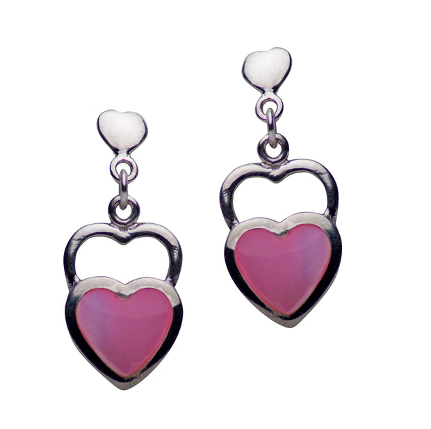 Double Heart Pink Mother of Pearl Sterling Silver Earrings