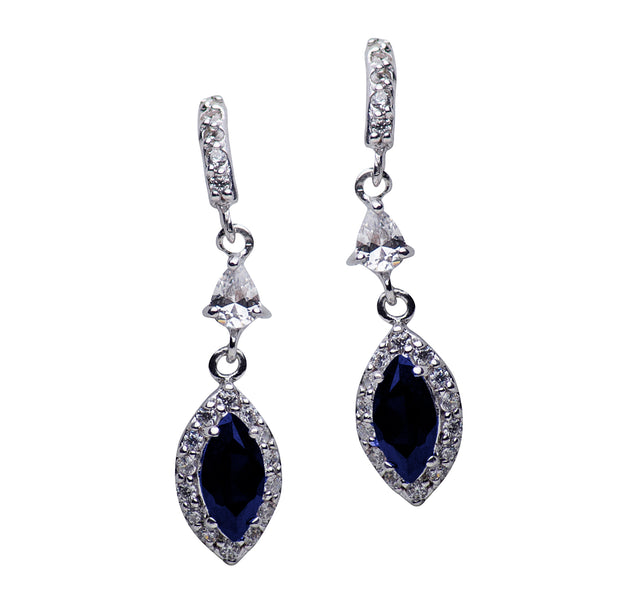 Cubic Zirconia & Synthetic Sapphire Sterling Silver Dangle Earrings