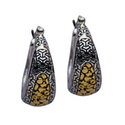 14K Gold & Silver Patterned Earrings | SilverAndGold